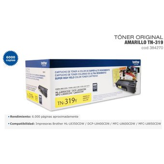 TONER BROTHER TN-319Y HL-L8350/MFC-L8850 (6000 PAG) YELLOW